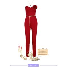 red & gold, created by smilenka on Polyvore