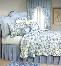 Love the blue  white (Brighton Blue Toile Deluxe Bedding Set)