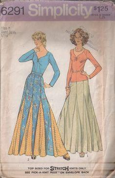 MOMSPatterns Vintage Sewing Patterns - Simplicity 6291 Vintage 70's Sewing Pattern THE BEST Bohemian Boho Swirling Hem Inset Contrast Godets Patchwork Maxi Skirt & Sweetheart Neckline Tshirt Top