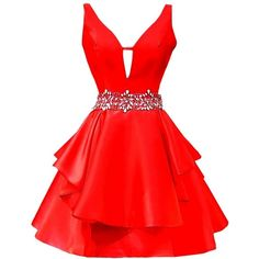 Icy Sun Women's V Neck Crystals Homecoming Dresses A Line Satin Short... ($68) ❤ liked on Polyvore featuring dresses, gowns, red homecoming dresses, short homecoming dresses, red ball gown, v neck a line dress and red evening gowns