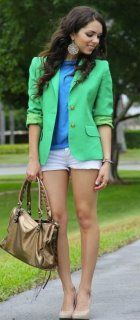 Spring Ready: kelly green blazer; silk cobalt blue blouse; denim shorts paired with pumps is great way spring up your look.