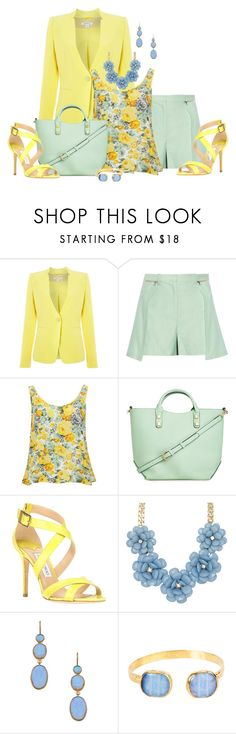"""""""Mellow Yellow"""" by laaudra-rasco ❤ liked on Polyvore featuring Marella, 3.1 Phillip Lim, Glamorous, Jimmy Choo, ALDO, Flying Lizard and West Coast Jewelry"""