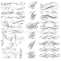 Illustration about Handmade tattoo lettering and decorative elements. Illustration of formal, card, flourish - 40569568 Calligraphy Tattoo Fonts, Tattoo Lettering Design, Tattoo Fonts Alphabet, Chicano Lettering, Graffiti Lettering Fonts, Cursive Alphabet, Hand Lettering Alphabet, Tattoo Script, Script Lettering