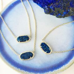Kendra Scott Elisa Necklace in Blue Drusy.