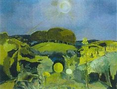 Paul Nash, Landscape of the Summer Solstice 1943 Collage Landscape, Abstract Landscape, Landscape Paintings, Pierre Auguste Renoir, Matisse, Picasso, Pieter Brueghel El Viejo, Imagen Natural, English Artists