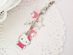 Kitty Planner Charm with Pink Lily of the Valley by PrettySang, $8.90