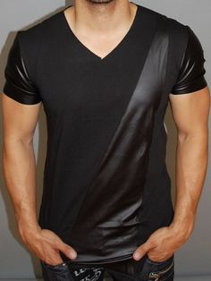 3c69952aba2 P V Men V-Neck Faux Leather Path Sleeves T-Shirt - Black