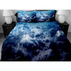 Dark Blue Surging Clouds Print 4-Piece Duvet Cover Sets (225 CAD) ❤ liked on Polyvore featuring home, bed & bath, bedding, duvet covers, outer space bedding, dark blue bedding, navy blue bedding, cloud bedding and navy bedding