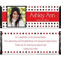 Multi Dots Graduation Photo Candy Bar Wrappers