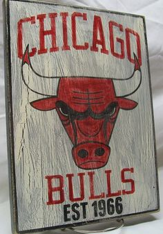 Chicago Bulls wall sign, 12 1/4 x 9, distressed.. $25.00, via Etsy.