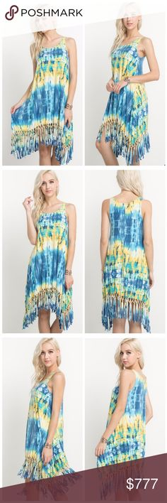 COMING SOON!! Tie-dye print knotted fringe dress. Lovely color mix of yellow and blue. A sleeveless dress with a tie-dye print and a knotted fringe hem. Material is 95 rayon, 4 spandex. Available in S-M-L Dresses Midi