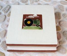 "Green John Deere Tractor handmade ceramic tile, coaster or wall hanging 4"" x 4"". $29"