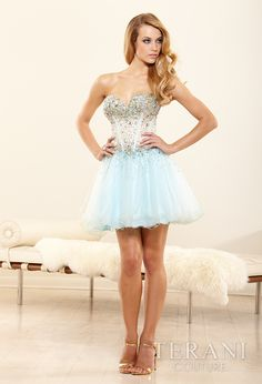 Cute light blue short prom dress 2014 by Terani Couture #bluedress #promdress #prom2014