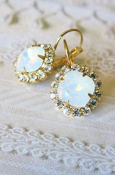 Opal Estate Style Vintage Earrings Wedding Jewelry White