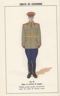 1958 Romanian People's Army officers' ceremonial dress uniform. Romanian People, East Germany, Military Uniforms, Soviet Union, Cold War, Freedom, Army, Notes, Dress