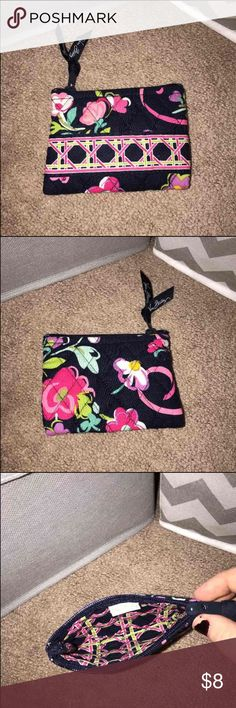 Vera Bradley coin purse/ pouch Like new used a couple times.  No flaws whatsoever.  Pattern: ribbons-discontinued.  Great for smaller items in your purse that you don't want floating around.  Clean/// smoke free home!  Price firm.  Any ?'s please ask! Vera Bradley Bags Cosmetic Bags & Cases