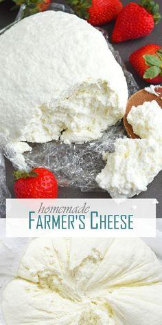 Homemade Farmer's Cheese (tvorog) - Olga in the Kitchen Goat Milk Recipes, Cheese Recipes, Fresh Cheese Recipe, Real Food Recipes, Cooking Recipes, Yummy Food, Kitchen Recipes, Cooking Ideas, Easy Recipes