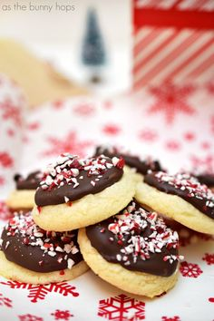 Peppermint Bark Sugar Cookies - As The Bunny Hops