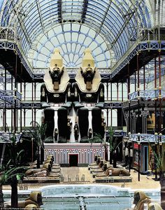 The Egyptian Court inside the Crystal Palace was built specially for the Great Exhibition of The Great Exhibition was organized by Henry Cole and Prince Albert, husband of the reigning monarch, Queen Victoria Crystal Palace, Hyde Park, Queen Of Hawaii, Origin Of Species, Palace London, Aesthetic Movement, Le Palais, Expositions, World's Fair