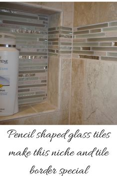 Recessed Niche and Tile Border With cool pencil shaped glass tiles - the smaller the shower the more important is the use of recessed niches. What do you think?  http://blog.innovatebuildingsolutions.com/2014/10/11/colored-glass-block-wall-stylish-durable-alternative-los-alamos-mexico-shower-remodel/