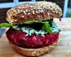 Beet Burgers with Basil Goat Cheese Spread