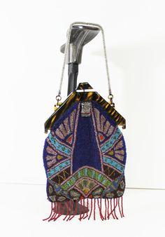 vintage art deco evening bag purse 1920s beaded tortoise frame peacock colours.  via Etsy.