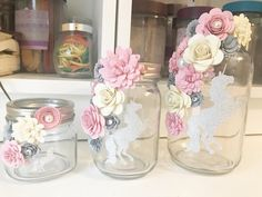 Ideas Party Decorations For Adults Centerpieces Paper Flowers Flower Jars, Flowers In Jars, Paper Flowers, Unicorn Themed Birthday Party, Unicorn Party, Mason Jar Crafts, Bottle Crafts, Mason Jars, Unicorn Centerpiece