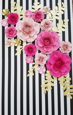 These gorgeous handmade flowers would be beautiful as a backdrop for a baby shower, bridal shower, wedding, room decor or even as a statement piece in… - New sites Kate Spade Party, Kate Spade Bridal, Baby Shower Kate Spade, Paper Flowers Roses, Paper Flowers Wedding, Baby Shower Themes, Baby Shower Decorations, Shower Ideas, Kate Spade Wallpaper