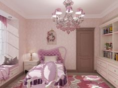 the room of a teenage girl in pink
