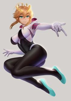 It's Spider Gwen for sure, yet her face and artstyle makes me wanna think She looks kinda like Saber from Fate series. Gwen Spider, Spider Girl, Spiderman Spider, Manga Anime, Anime Art, Marvel Vs, Marvel Dc Comics, Marvel Characters, Female Characters