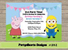 381 DIY  Peppa Pig and Minions Party by PartyAllsortsDesigns