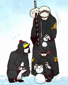 Heart Pirates making Bepo snowman - Trafalgar D. Water Law, Shachi, Penguin One piece