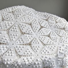 Vintage Crocheted Bedspread - White Cotton Bedding Star Pattern Crochet