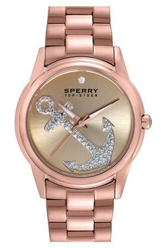 Sperry 'Audrey' Pavé Anchor Bracelet Watch, 38mm available at #Nordstrom