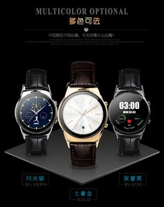LW03 K18 Runde Smartwatch Bluetooth Smart uhr Lederband Edelstahl Armbanduhren Für IOS iPhone Andriod Samsung Xiaomi //Price: $US $79.90 & FREE Shipping //     #smartuhren