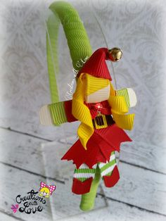 Santa Helper Ribbon Sculpture Headband. Christmas by creationslove