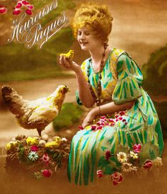 Pretty woman with green yellow dress, holding a baby chick * Antique French postcard * April's Fool at the farm * Colorized picture by ExcusemyFrenchShop on Etsy Holding Baby, Baby Chicks, Vintage Easter, Vintage Girls, Yellow Dress, Pretty Woman, French Vintage, French Antiques, Her Hair