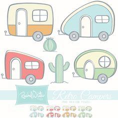 Retro Campers Clip Art Set  24 images Color & by rachelwhitetoo