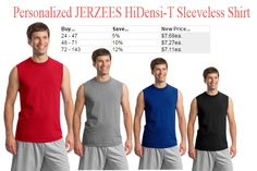 Personalized JERZEES HiDensi-T Sleeveless Shirt is made of 100% preshrunk cotton.  http://www.southernad.com/Personalized-JERZEES-HiDensi-T-Sleeveless-Shirt-p/49m.htm