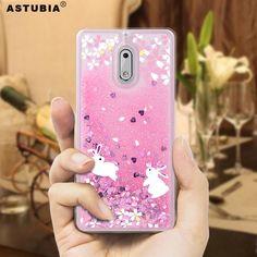 7325c9661e99d Luxo Rosa Líquido Capa Para Nokia 6 Caso Capa de Silicone Para Nokia 6 Capa  Pink