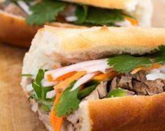 Photo about Banh mi vietnamese pork sandwich with cilantro. Image of dikon, portion, shot - 40060606 Banh Mi Sandwich, Veggie Sandwich, Sandwich Recipes, Vietnamese Pork, Vietnamese Cuisine, Vietnamese Sandwich, Pork Skewers, Eastern Cuisine, Raw Vegetables