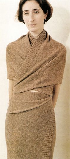 Radical KnitwearMartin Margiela, autumn/winter 1999–2000. Wrapped shetland woollen dress made from two pieces of knitted fabric, one shaped. This concept reflects the simplest form of body-covering used from ancient times. The pieces are knitted 'garment blanks' with a traditional rib for the welt, but used in a direct manner instead of being cut and sewn into a classic shape. Margiela interrupts the knitwear production process at a very early stage.  Knitwear in Fashion by ...