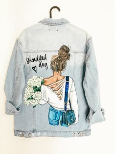 Items similar to Women's jeans jacket with a creative pattern on the back Girl with a bouquet of flowers and a handbag high hair on Etsy Painted Denim Jacket, Painted Jeans, Painted Clothes, Custom Denim Jackets, Viking Dress, Stylish Dress Designs, Shirt Print Design, Diy Clothing, Lounge Wear