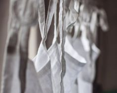 linen curtain, white curtain with ties, window curtain, Light and thin window curtains, transparent, softened, pure linen