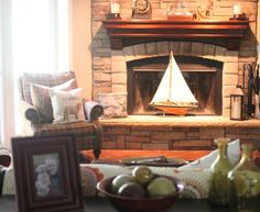 Family Room designed to withstand the abuse of kids and dogs with corner stacked stone fireplace