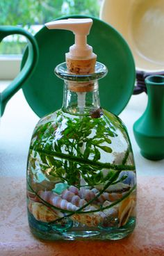 Patron Bottle Soap Dispenser - Cool Green.  Just add clear soap!   http://seasidesouvenirs.com/soap-dispensers.php#