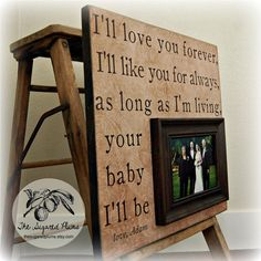 ILL LOVE YOU Forever Fathers Day Picture Frame Custom Wedding Gift Personalized 16x16 Mother Of The Bride Parents Dad Men Gift. $75.00, via Etsy.