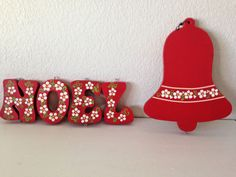 Christmas Noel Wood Sign Vertical Bell & Vertical Hanging Letters Handpainted  #Unbranded