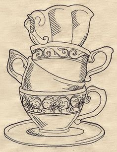 Teacup Stack - this could be modified to make a embroidery pattern for a tea towel etc.  Pretty
