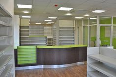 Pharmacy dispensary design and over the counter shelving and storage solutions. Fancy Shop, Pharmacy Store, Electronic Workbench, Store Layout, Counter Design, Beauty Supply Store, Clinic Design, Store Interiors, Shelf Design